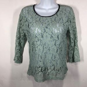 Forever 21 mint green lace top size medium